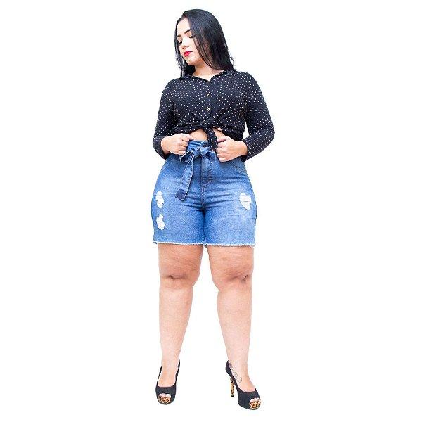 Shorts Jeans Cambos Plus Size Rasgadinho Geisimara Azul