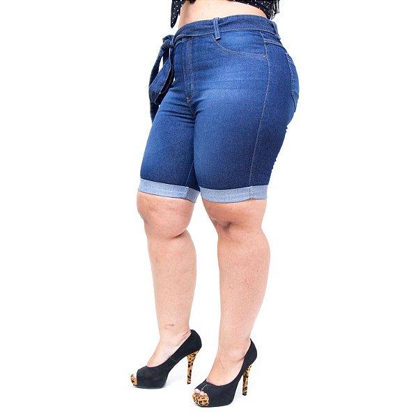 Bermuda Jeans Cambos Plus Size Jocia Azul