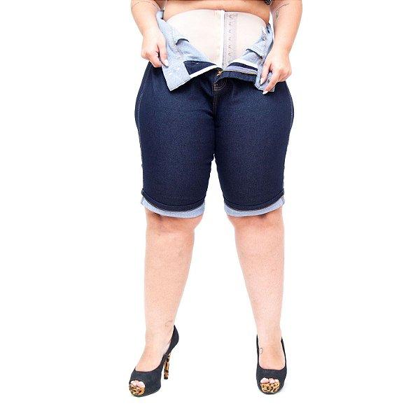 Bermuda Jeans Xtra Charmy Plus Size Ciclista Lidian Azul