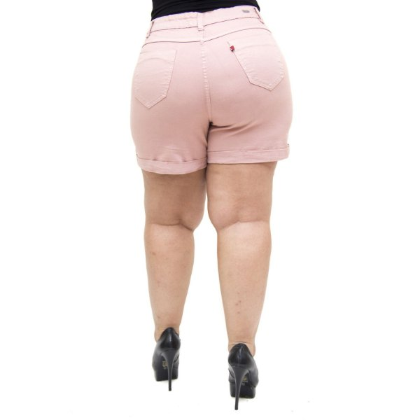 Shorts Jeans Feminino Cambos Plus Size Euda Rose