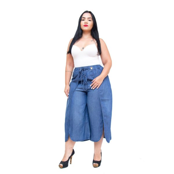 Calça Feminina Brunfer Plus Size Pantacourt Gleicielly Azul