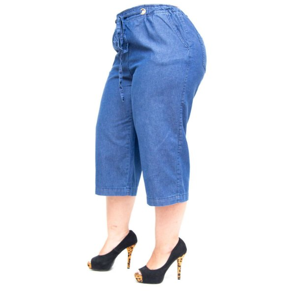 Calça Feminina Brunfer Plus Size Pantacourt Janderce Azul