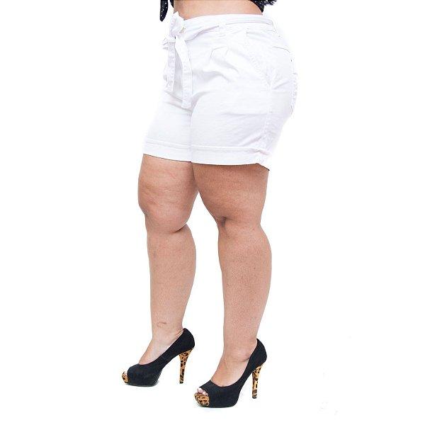 Shorts Jeans Feminino Brunfer Plus Size Valdira Branco