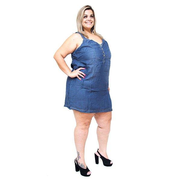 Vestido Jeans Feminino Xtra Charmy Plus Size Isete Azul