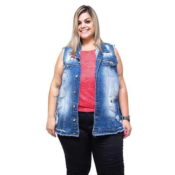 Colete Jeans Feminino Xtra Charmy Plus Size Girlane Azul