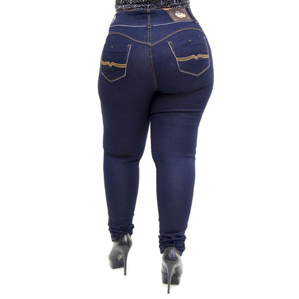 Calça Jeans Feminina Credencial Plus Size Skinny Dryka Azul
