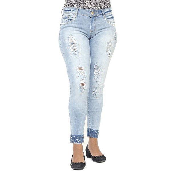 Calça Jeans Feminina Rasgada Modelo Cigarrete Mini Blue com Strass