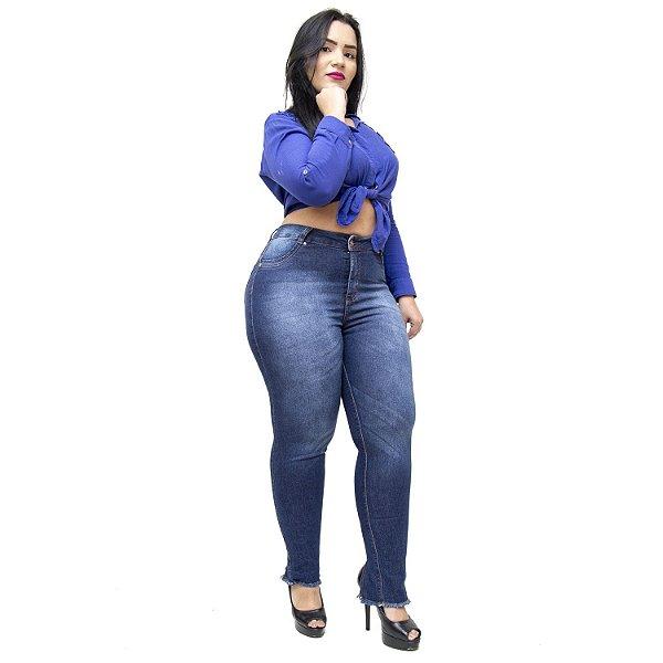 Calça Jeans Credencial Plus Size Cigarrete Marineusa Azul
