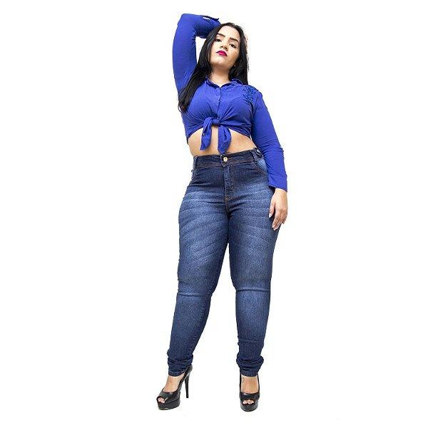 Calça Jeans Credencial Plus Size Skinny Kethilen Azul