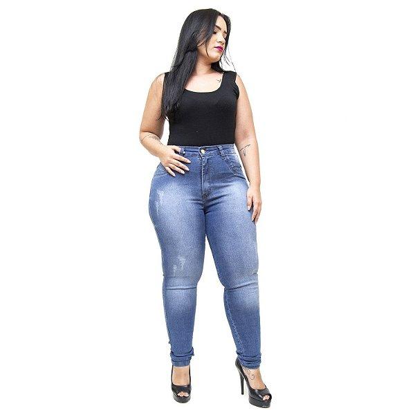 Calça Jeans Feminina Latitude Plus Size Skinny Monika Azul