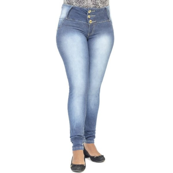 Calça Jeans Feminina Cheris Azul Modelo Legging Levanta Bumbum