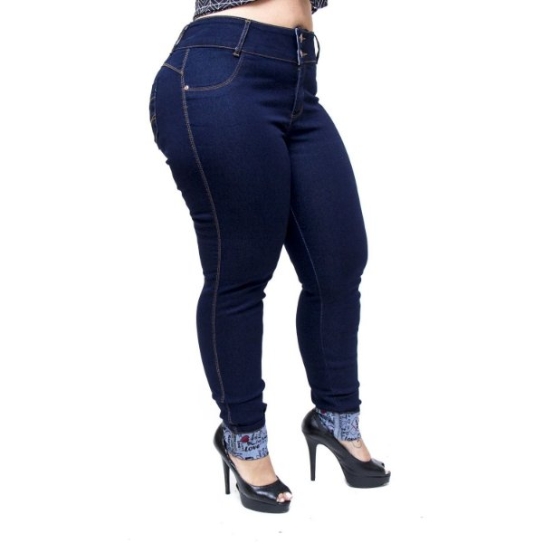 Calça Jeans Feminina Credencial Plus Size Skinny Soeli Azul