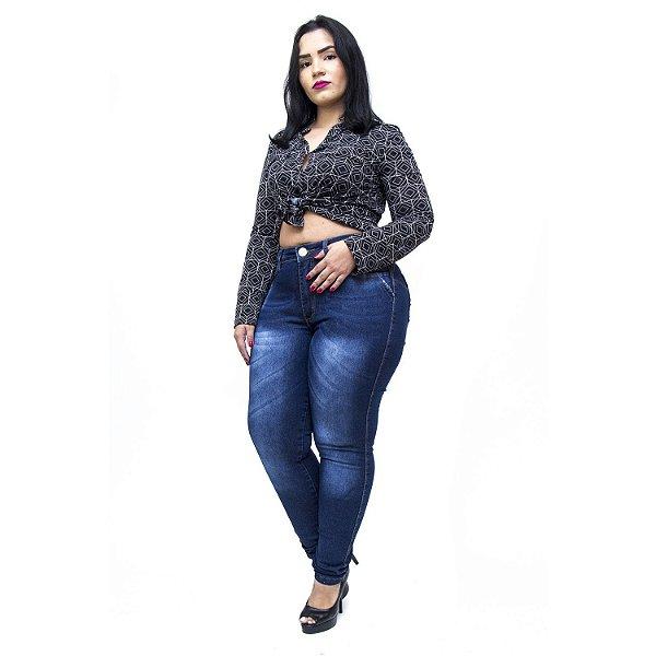 Calça Jeans Feminina Helix Plus Size Skinny Kethellen Azul