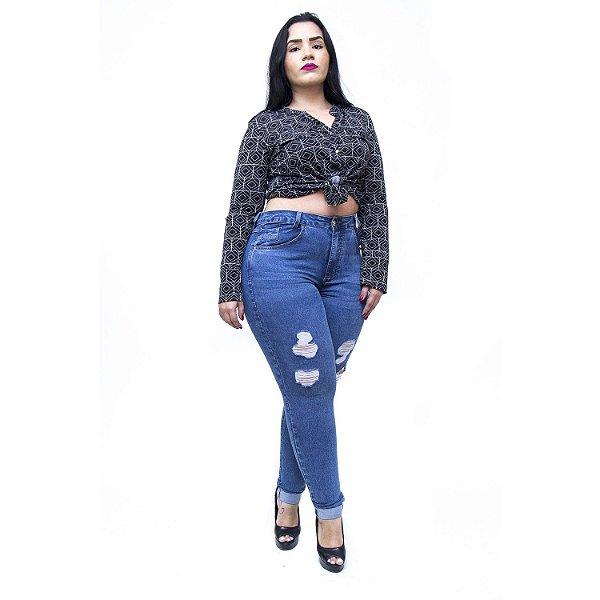 Calça Jeans Feminina Cambos Plus Size Skinny Hangra Azul