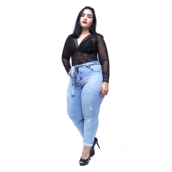 Calça Jeans Feminina Cambos Plus Size Skinny Gilcimara Azul