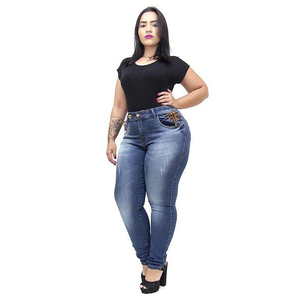 Calça Jeans Xtra Charmy Plus Size Skinny Lorrainne Azul