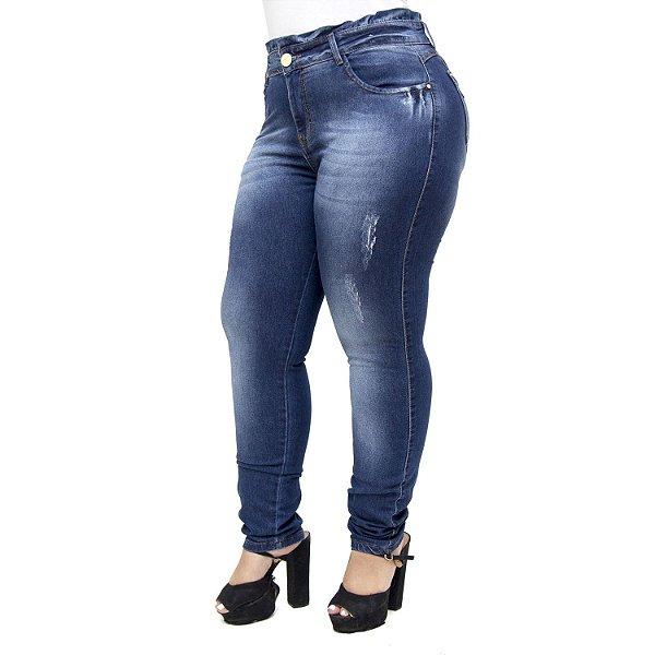 Calça Jeans Xtra Charmy Plus Size Cigarrete Catiuscia Azul