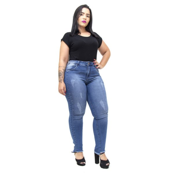 Calça Jeans Feminina Unison Plus Size Cigarrete Loreny Azul