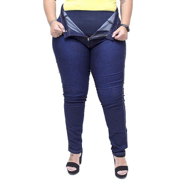 Calça Jeans Feminina Latitude Plus Size Skinny Monicque Azul
