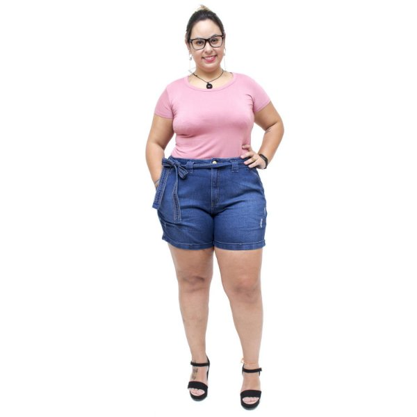 Shorts Jeans Feminino Unison Plus Size Djovana Azul