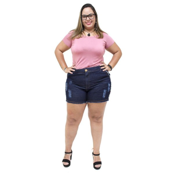 Shorts Jeans Feminino Xtra Charmy Plus Size Elianne Azul