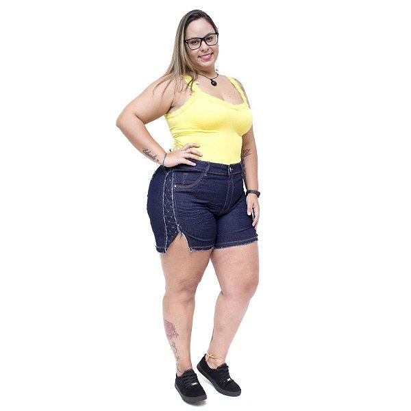 Shorts Jeans Feminino Xtra Charmy Plus Size Vandalci Azul