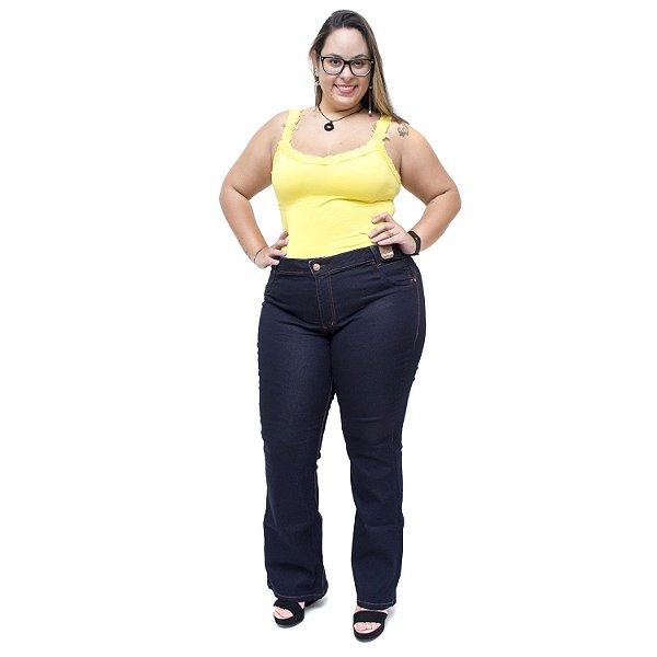 Calça Jeans Credencial Plus Size Flare Juscineide Azul