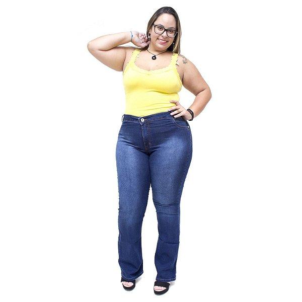 Calça Jeans Feminina Credencial Plus Size Flare Ozilene Azul