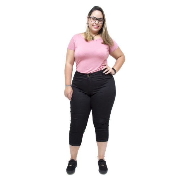 Calça Jeans Feminina Credencial Plus Size Cropped Tali Preta