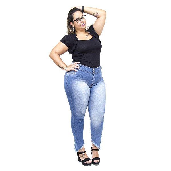 Calça Jeans  Credencial Plus Size Cigarrete Melrie Azul