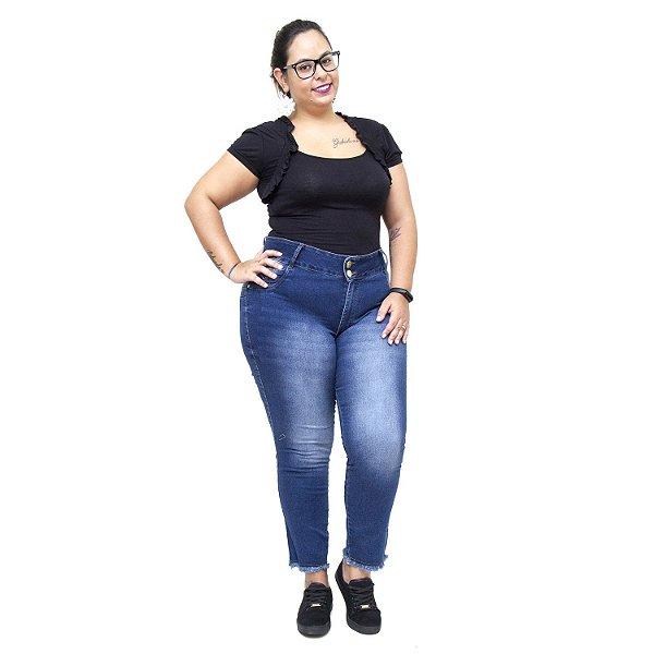 Calça Jeans Credencial Plus Size Cigarrete Kaysa Azul