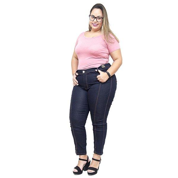 Calça Jeans Credencial Plus Size Cigarrete Marianice Azul