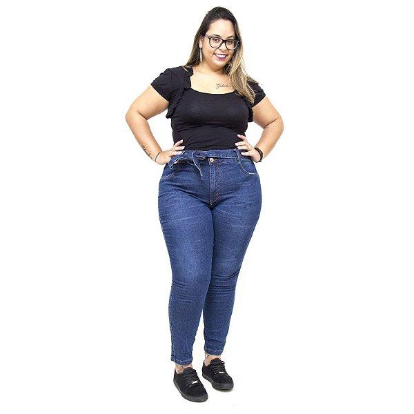 Calça Jeans Feminina Cambos Plus Size Cropped Edenise Azul