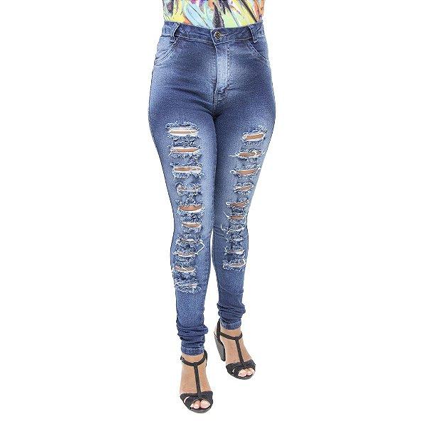 Calça Jeans Legging Feminina Hevox Modelo Hot Pant Rasgada com Cintura Alta