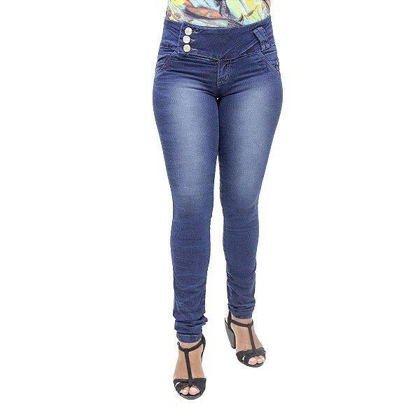Calça Jeans Legging Feminina Deerf Azul Escura Levanta Bumbum