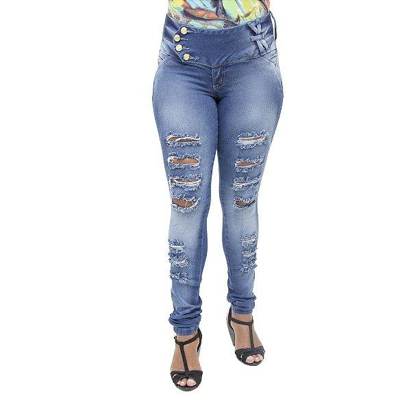 Calça Jeans Feminina Deerf Rasgada Modelo Legging Levanta Bumbum