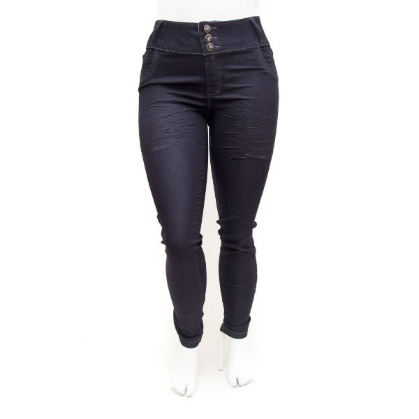 Calça Jeans Feminina Plus Size Cintura Alta Azul Escura Credencial