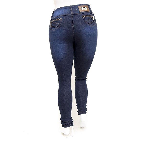 Calça Jeans Feminina Plus Size Cintura Alta Azul Carbono Credencial