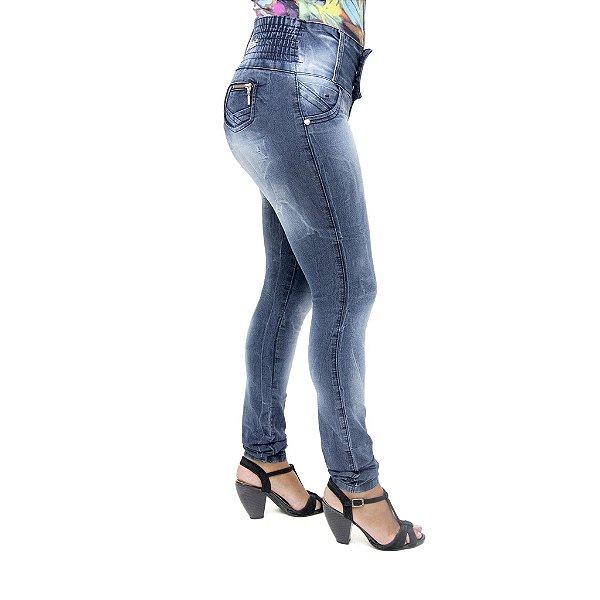 Calça Jeans Feminina Credencial Manchada com Elástico na Cintura
