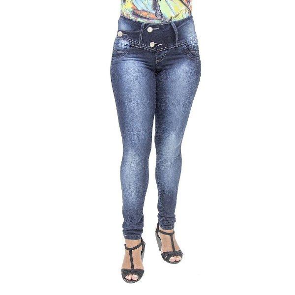 Calça Jeans Feminina Credencial com Lavagem Azul Escura com Elastano