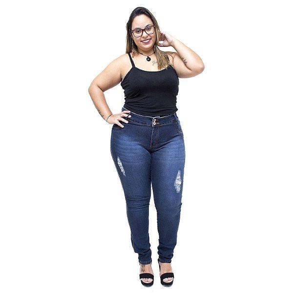 Calça Jeans Credencial Plus Size Skinny Lisarua Azul