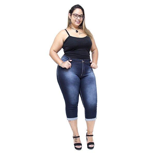 Calça Jeans Credencial Plus Size Cropped Dalcilene Azul