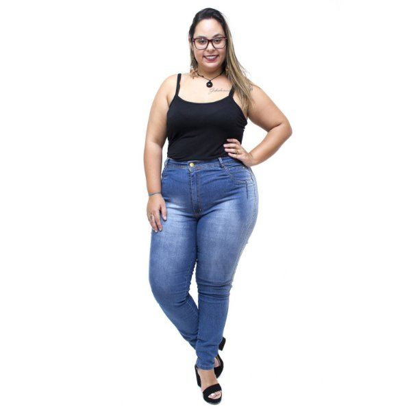 Calça Jeans Latitude Plus Size Skinny Rosibene Azul
