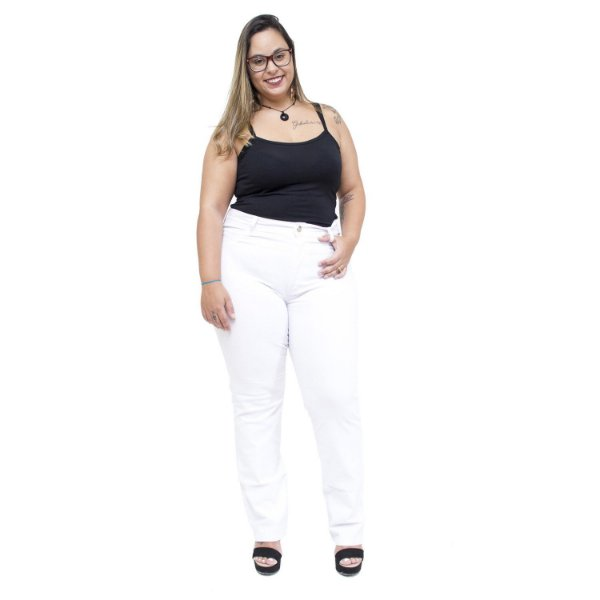 Calça Jeans Uvx Plus Size Reta Adonira Branca