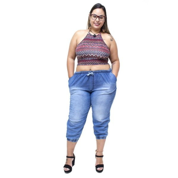 Calça Jeans Brunfer Plus Size Jogger Siberia Azul