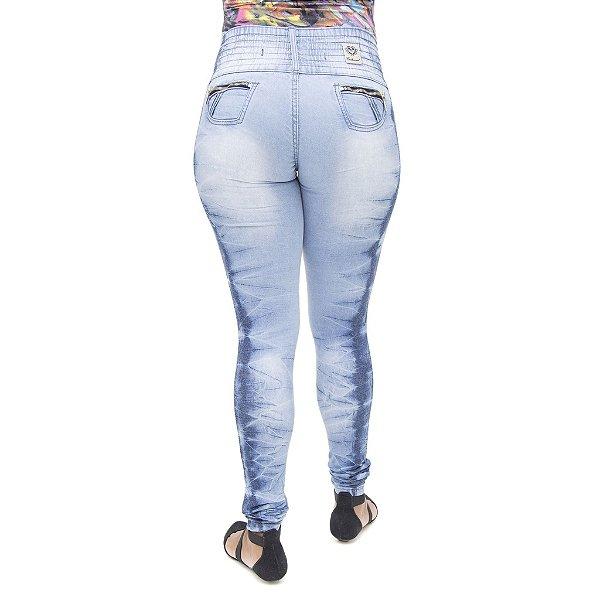 Calça Jeans Feminina Legging Credencial Manchada com Elástico