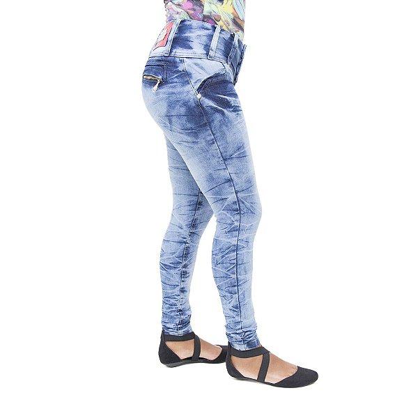 Calça Jeans Feminina Cheris Manchada Levanta Bumbum