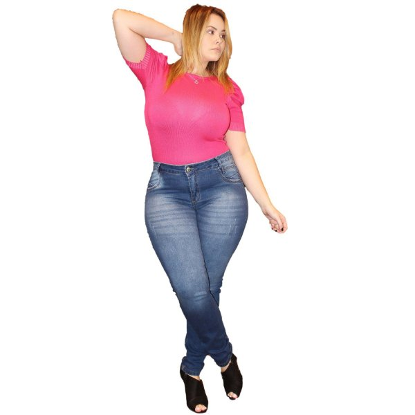 Calça Jeans Credencial Plus Size Skinny Silvaneth Azul
