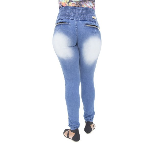 Calça Jeans Feminina Legging Hevox Manchada Levanta Bumbum com Elástico
