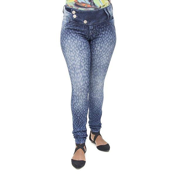 Calça Jeans Feminina Legging Deerf Estampa Animal Print Levanta Bumbum